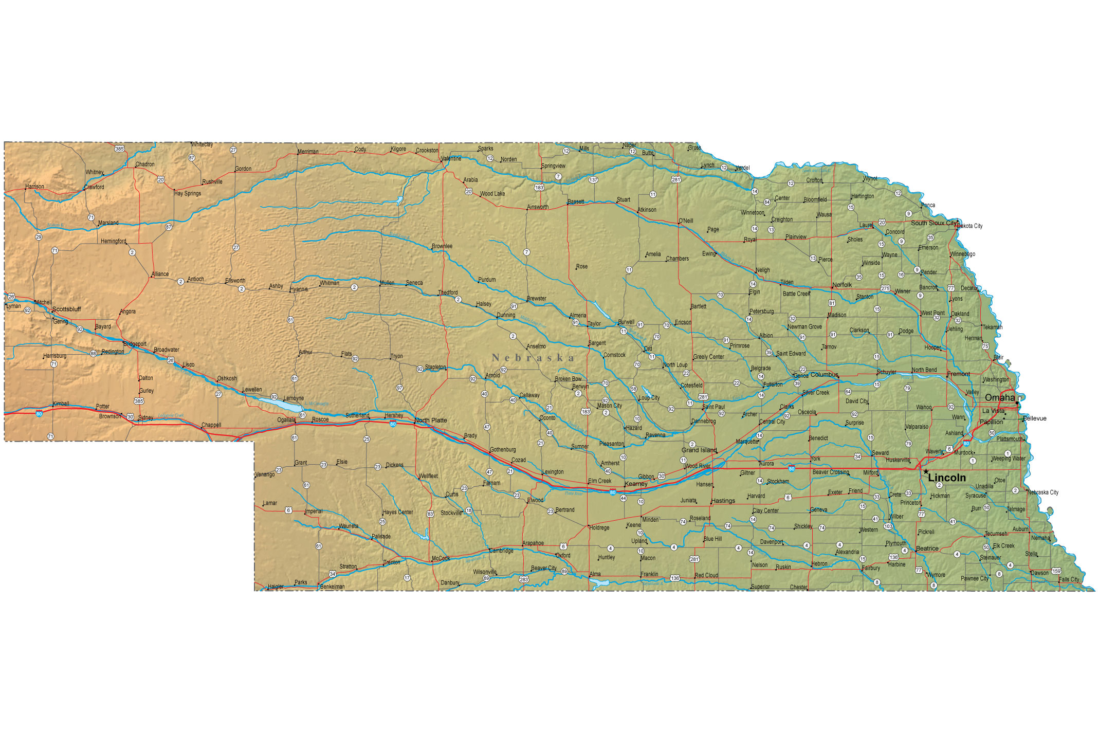 Detailed Nebraska Map  NE Terrain Map