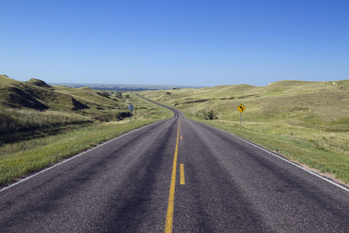 road through sand hills, Nebraska