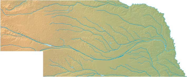 Nebraska relief map